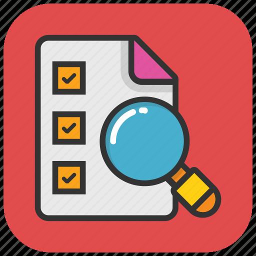 checklist, checklist paper, checklist with magnifier, find plan, to do icon