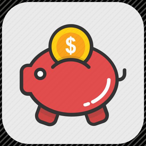 cash, money, penny bank, piggy bank, saving icon