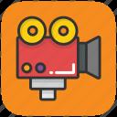 movie, movie camera, video, video production, video recording icon