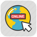 click, global search, online globe, online searching, worldwide icon