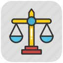 balance scale, equality, justice scale, law, legal icon