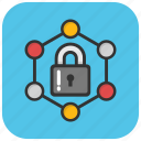 firewall lock, network protection, network security, network security systems, threats security icon