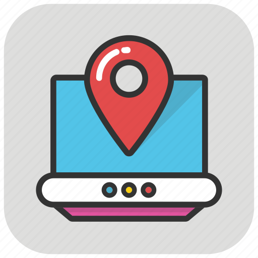 gps navigation, laptop pin map, map location, online gps, online navigation icon