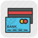 atm cards, bank cards, cash cards, credit cards, plastic money icon
