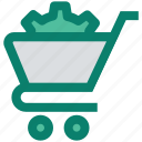 cart, cog, gear, optimize, settings, shopping cart, sprocket icon