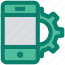 cogwheel, configuration, gear, mobile marketing, mobile setting, option, smartphone icon