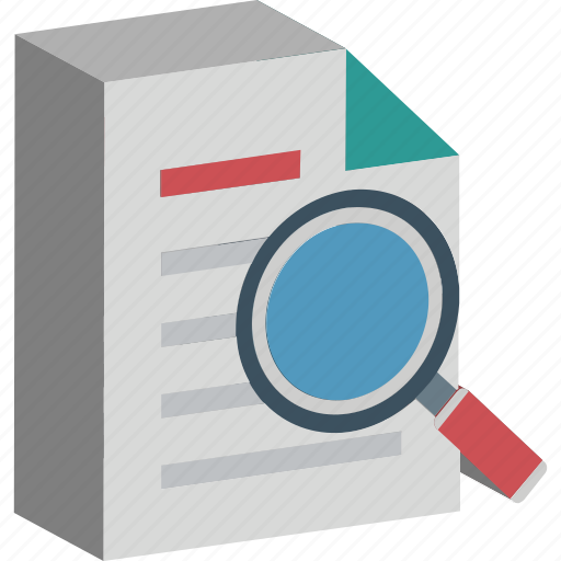 file, internet search, paper with magnifier, search, search directory, search documents, search papers icon