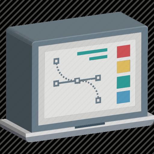 designing, graphic designing, monitor with design, pen tool, photoshop, vector design icon