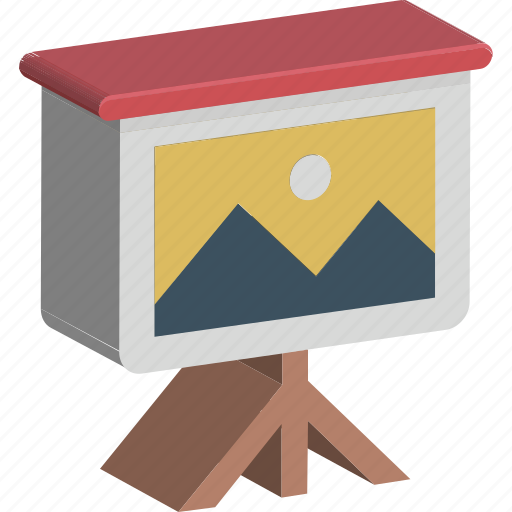 chalkboard, easel, landscape, presentation board, whiteboard icon