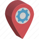 cog, gps, location pin, location setting, map setting
