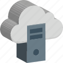 cloud computing, cloud with desktop, computer, database, desktop pc, server, tower pc icon
