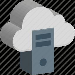 cloud computing, cloud with desktop, computer, database, desktop pc, server, tower pc icon