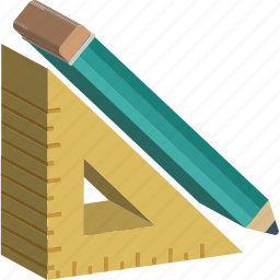 designing tools, draft tools, drawing tools, pencil, set square icon