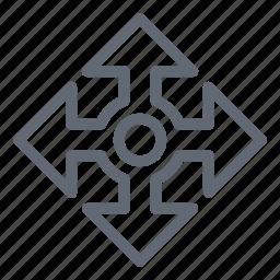 arrows, four arrows, move, select, spread icon