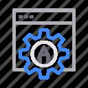 browser, edit, gear, online, webpage icon