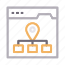 browser, connection, location, network, webpage icon