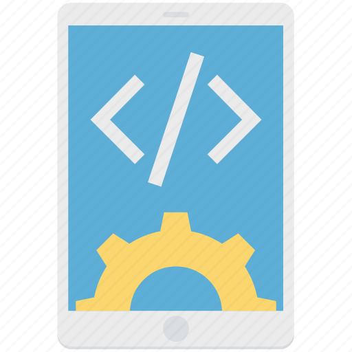 app development, cog, div, mobile, mobile development, settings icon