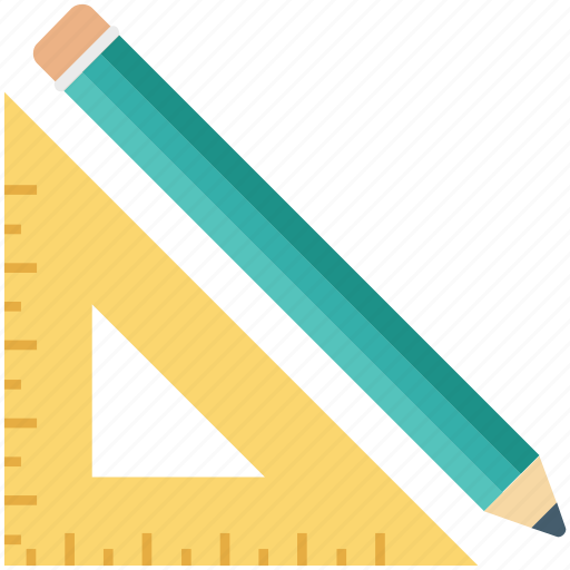 designing tools, draft tools, drawing tools, pencil, set square icon