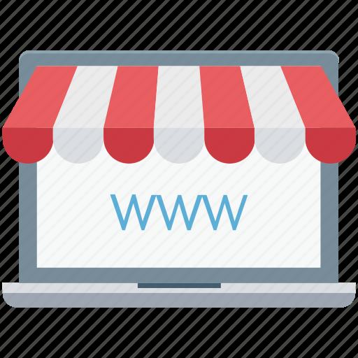 ecommerce, eshop, laptop, shop, www icon
