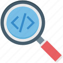 magnifying, search div, search programming, search tag, web programing icon