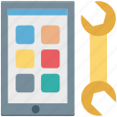 mobile, mobile development, mobile repair, mobile setting, spanner icon