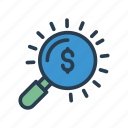 audit, dollar, find, money, search icon