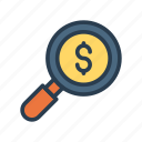 audit, cash, dollar, magnifier, search icon