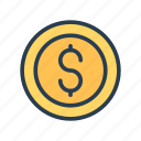 cash, coin, dollar, earning, money icon