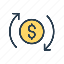 dollar, exchange, money, reload, transfer icon