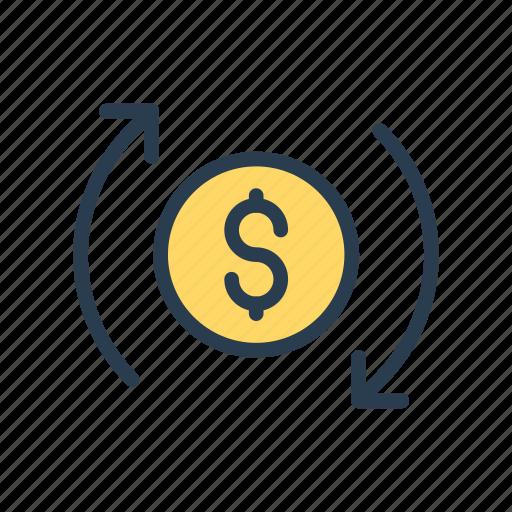 dollar, exchange, money, reload, transfer icon