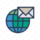 global, inbox, mail, message, world icon