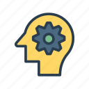 configure, gear, head, mind, setting icon