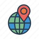 earth, location, map, pin, world icon