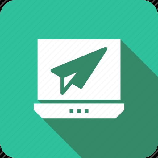 communication, email, envelope, inbox, laptop, receive, send icon