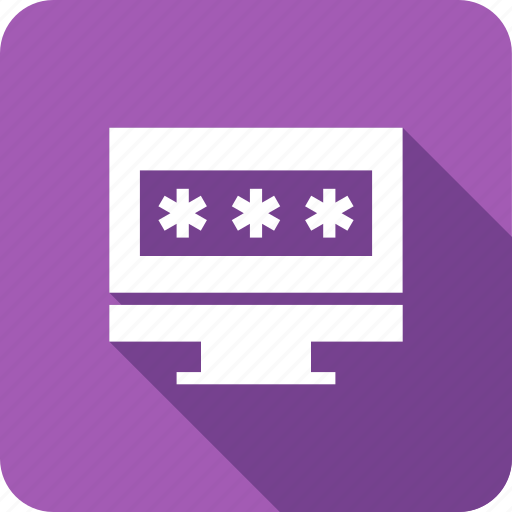 computer, in, internet, lock, log, monitor, password icon