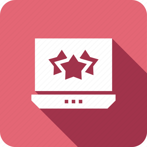 five, laptop, online, ratings, review, stars icon