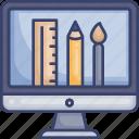 brush, computer, design, graphic, monitor, pencil, ruler