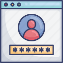 account, login, password, profile, user, webpage, website icon