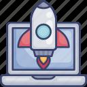 computer, laptop, launch, rocket, start, up, website