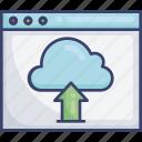 arrow, cloud, storage, up, upload, webpage, website