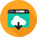 arrow, browser, cloud, down, download, online, web icon