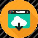arrow, browser, cloud, down, download, online, web