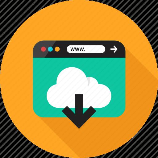 arrow, browser, cloud, down, download, online, web icon