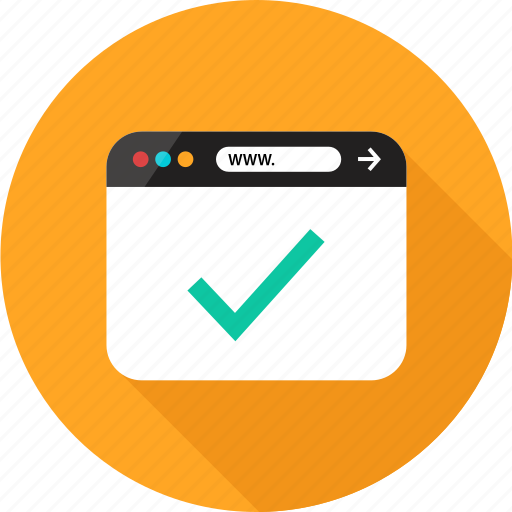 browser, check, mark, ok, online, sign, web icon