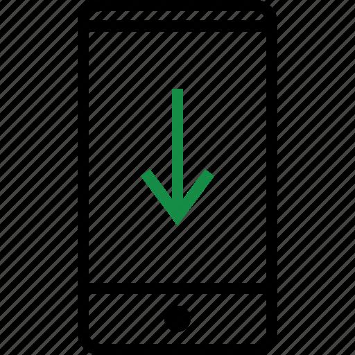 arrow, cell, phone icon