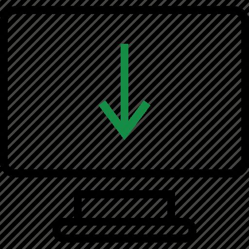 arrow, computer, down, monitor icon