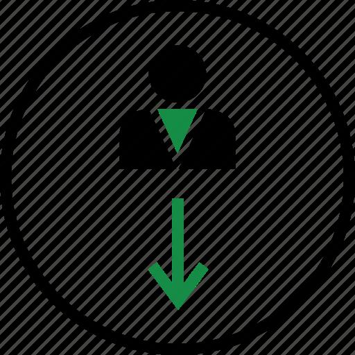 down, line, person, user icon