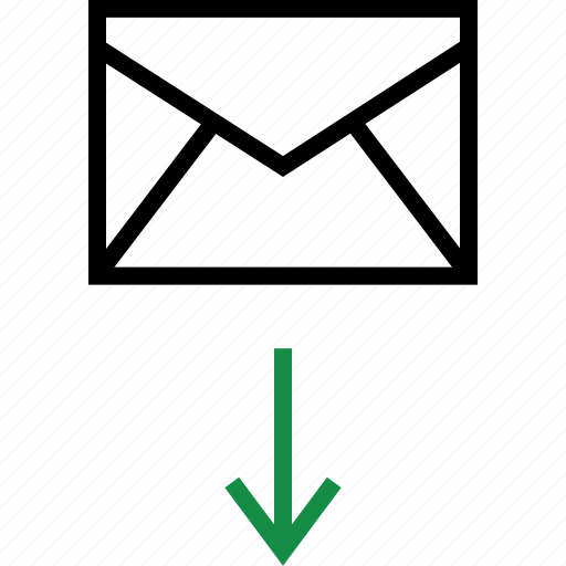 arrow, down, mail icon