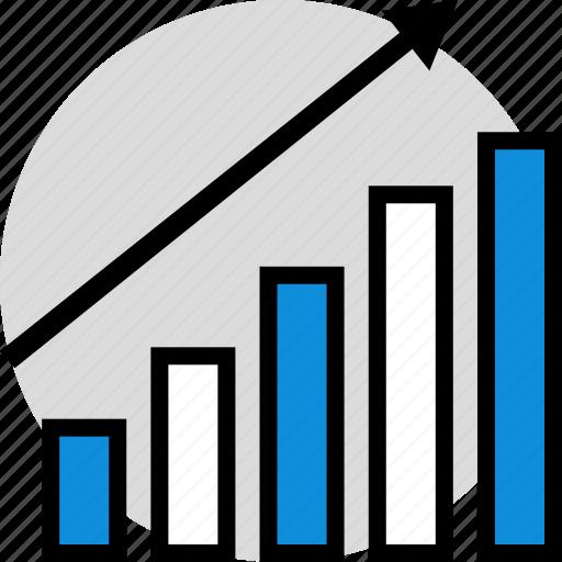 arrow, graph, information icon