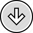 arrow, down, information icon